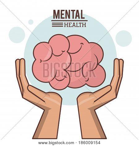 mental health, hand with human brain design vector illustration