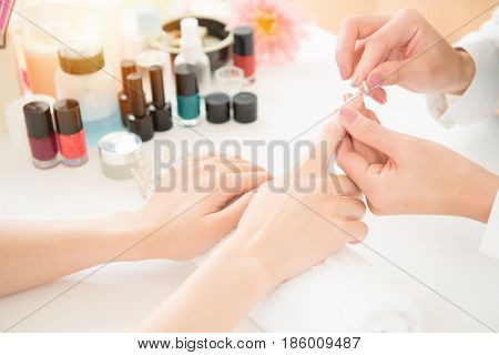 Nail Treatment Manicurist Polishing