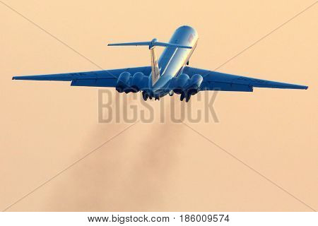 VNUKOVO, MOSCOW REGION, RUSSIA - FEBRUARY 19, 2013: Ilyushin IL-62M RA-86567 of Russian Air Force taking off at Vnukovo international airport.