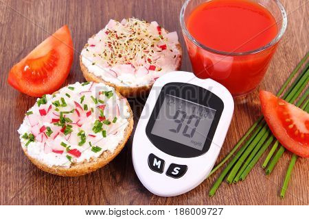 Glucose Meter, Freshly Sandwich With Cottage Cheese And Vegetables, Tomato Juice