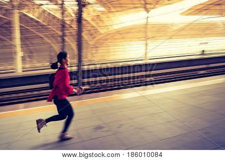 motion blurred running rushing hurry running to high speed train
