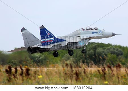 ZHUKOVSKY, MOSCOW REGION, RUSSIA - AUGUST 11, 2011: Mikoyan MiG-35 154 BLUE of russian air force performing test flight at Zhukovsky.