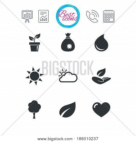 Presentation, report and calendar signs. Garden sprout, leaf icons. Nature and weather signs. Sun, cloud and tree symbols. Classic simple flat web icons. Vector