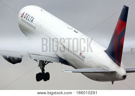 SHEREMETYEVO, MOSCOW REGION, RUSSIA - JULY 20, 2012: Delta airlines Boeing 767-400 N828MH taking off at Sheremetyevo international airport.