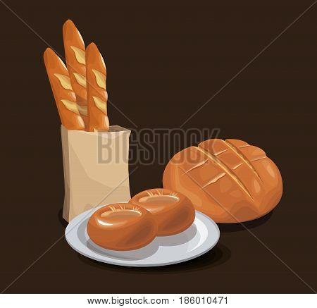 bread bakery product food organic. fresh bread concept design vector illustration