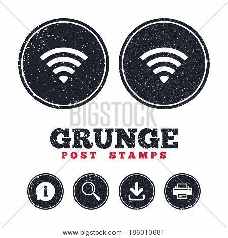 Grunge post stamps. Wifi sign. Wi-fi symbol. Wireless Network icon. Wifi zone. Information, download and printer signs. Aged texture web buttons. Vector