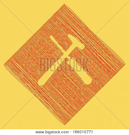 Tools sign illustration. Vector. Red scribble icon obtained as a result of subtraction rhomb and path. Royal yellow background.
