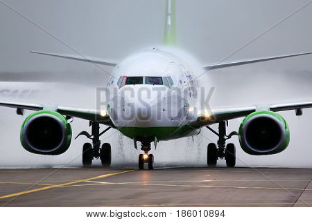 DOMODEDOVO, MOSCOW REGION, RUSSIA - MAY 27 2011: S7 airlines Boeing 737-800 in one world alliance paint scheme of russian air force at Domodedovo international airport.