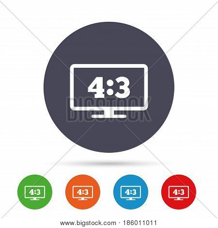 Aspect ratio 4:3 widescreen tv sign icon. Monitor symbol. Round colourful buttons with flat icons. Vector