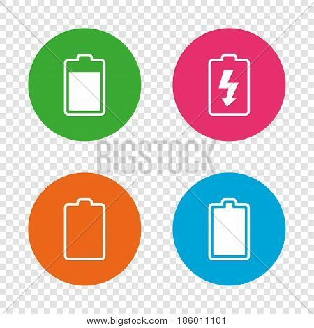 Battery charging icons. Electricity signs symbols. Charge levels: full, empty. Round buttons on transparent background. Vector