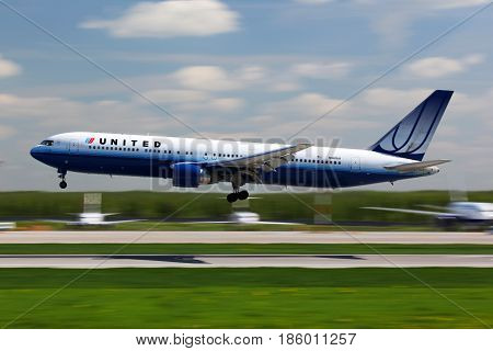 DOMODEDOVO, MOSCOW REGION, RUSSIA - MAY 20 2011: Boeing 767-300 N611UA of United Airlines landing at Domodedovo international airport.