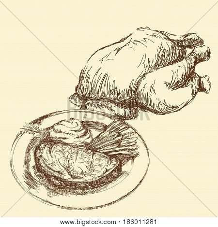 hand draw roasted whole chicken vegetable food. engraved vector illustration.