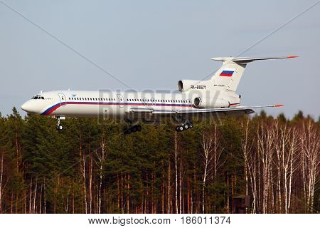 CHKALOVSKY, MOSCOW REGION, RUSSIA - APRIL 12, 2011: Tupolev Tu-154B-2 RA-85571 of Russian Air Force landing at Chkalovsky.