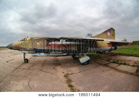 KUBINKA, MOSCOW REGION, RUSSIA - MAY 6, 2011: Mikoyan MiG-23 56 BLUE jet fighter of Russian air force on storage at Kubinka air force base.