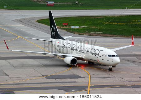 SHEREMETYEVO, MOSCOW REGION, RUSSIA - MAY 16, 2011:Turkish Airlines Boeing 737-800 TC-JFH wearing Star Alliance paint scheme taxiing at Sheremetyevo international airport.