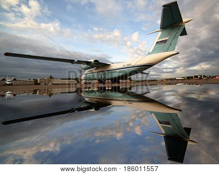 SHEREMETYEVO, MOSCOW REGION, RUSSIA - SEPTEMBER 22, 2011: Antonov An-72 RA-72011 of federal security servicce standing at Sheremetyevo international airport.