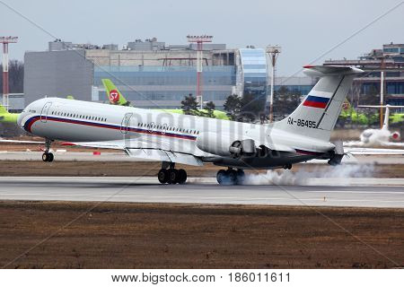 DOMODEDOVO, MOSCOW REGION, RUSSIA - APRIL 11 2011: Ilyushin IL-62M RA-86495 of russian air force landed at Domodedovo international airport.