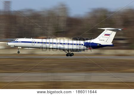 CHKALOVSKY, MOSCOW REGION, RUSSIA - APRIL 12, 2011: Tupolev Tu-134A-3 RA-65729 of Russian Air Force landing at Chkalovsky.