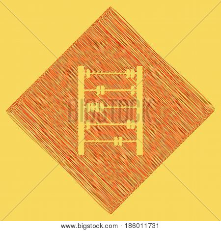 Retro abacus sign. Vector. Red scribble icon obtained as a result of subtraction rhomb and path. Royal yellow background.