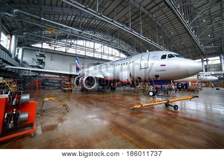 SHEREMETYEVO, MOSCOW REGION, RUSSIA - SEPTEMBER 22, 2011: Aeroflot Airbus A320 VP-BWD standing in a maintainence hangar at Sheremetyevo international airport.