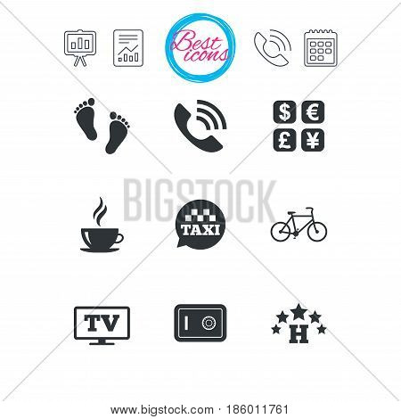 Presentation, report and calendar signs. Hotel, apartment services icons. Coffee sign. Phone call, kid-friendly and safe strongbox symbols. Classic simple flat web icons. Vector