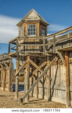 Wooden lookout tower at Wyoming Territorial Prison in Laramie Wyoming