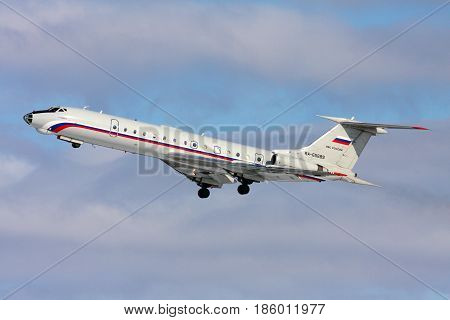 CHKALOVSKY, MOSCOW REGION, RUSSIA - MARCH 2, 2011: Tupolev Tu-134A-3 RA-65689 of Russian Air Force at Chkalovsky.