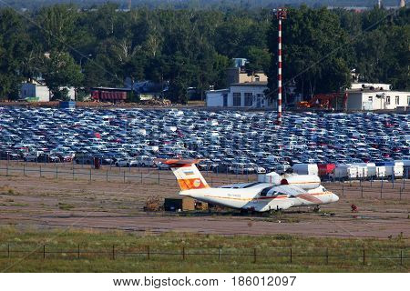 BYKOVO, MOSCOW REGION, RUSSIA - AUGUST 14, 2011: Antonov An-74 RA-74003 standing at closed airport Bykovo.