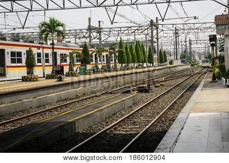Train station background in indonesia bogor java