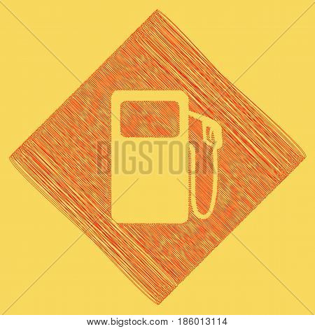 Gas pump sign. Vector. Red scribble icon obtained as a result of subtraction rhomb and path. Royal yellow background.