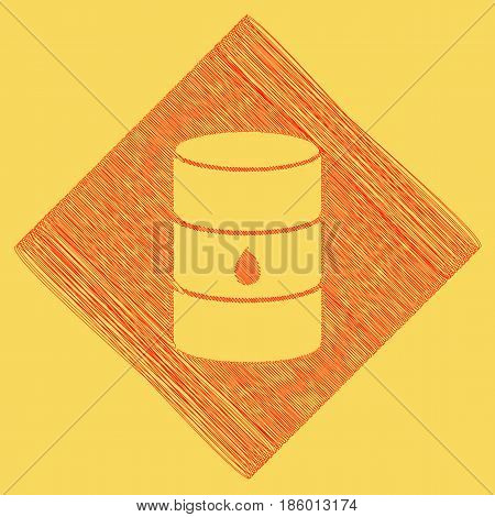 Oil barrel sign. Vector. Red scribble icon obtained as a result of subtraction rhomb and path. Royal yellow background.