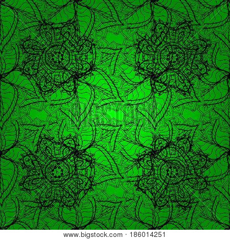 For wedding invitation book cover or flyer. Green background with colored ornament mandala based on ancient greek and islamic ornaments.
