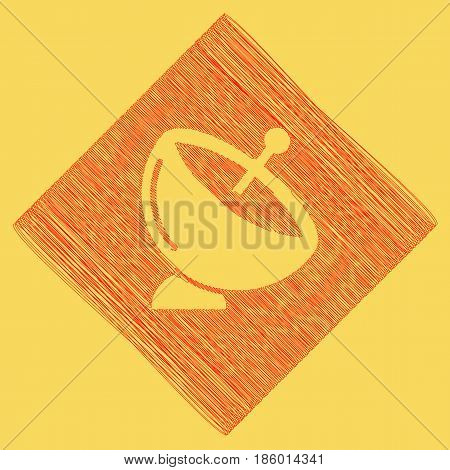 Satellite dish sign. Vector. Red scribble icon obtained as a result of subtraction rhomb and path. Royal yellow background.