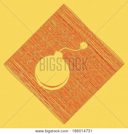 Bomb sign illustration. Vector. Red scribble icon obtained as a result of subtraction rhomb and path. Royal yellow background.