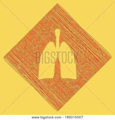 Human anatomy. Lungs sign. Vector. Red scribble icon obtained as a result of subtraction rhomb and path. Royal yellow background.