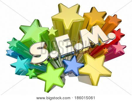 SEM Search Engine Marketing Stars Campaign Advertising 3d Illustration