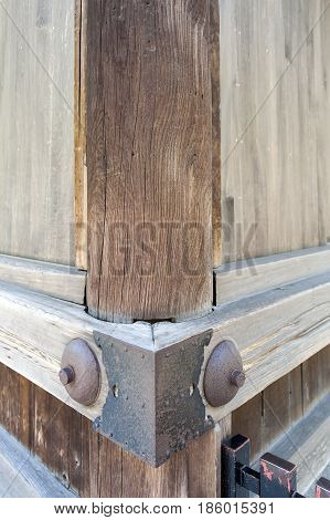 Traditional Japanese Woodworking Mitered Butt Joint Supported By Metallic Pins And Sheets At Corner