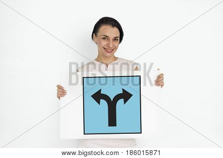 Left And Right Arrow Intersection Road Sign