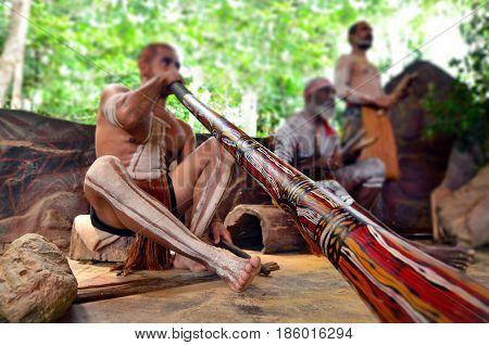 QUEENSLAND, AUS - APR 17 2016: Yirrganydji Aboriginal men play Aboriginal music on didgeridoo and wooden instrument during Aboriginal culture show in Queensland Australia.