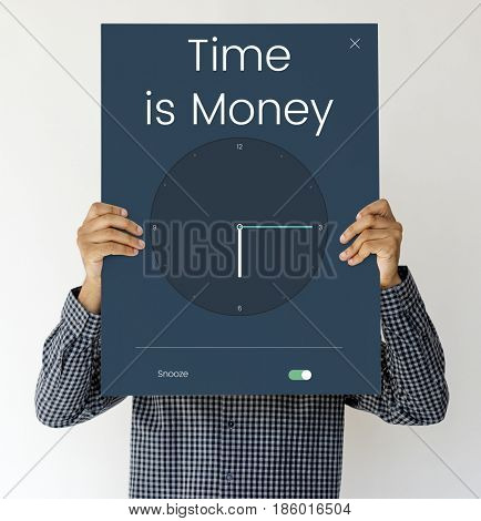 Man holding board cover his face with time icon