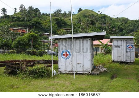 SAVUSAVU FIJI - FEB 04 2017: Fiji Red Cross Disaster Preparedness. Since Cyclone Winston made landfall in Fiji on Feb 2016 Fiji Red Cross has been able to reach 63000 people with emergency relief.
