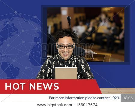The reporter with graphic of global hot news in special report