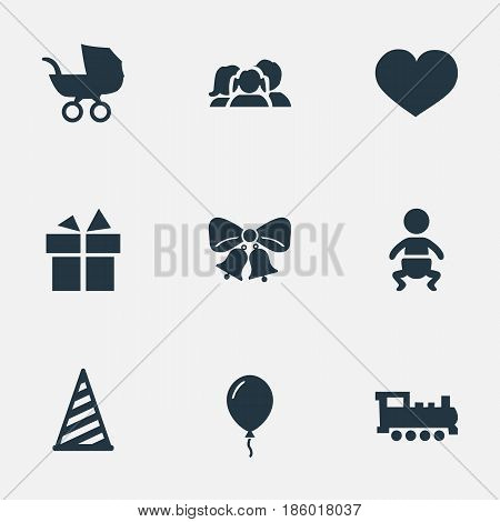 Vector Illustration Set Of Simple Holiday Icons. Elements Infant, Aerostat, Baby Carriage And Other Synonyms Gift, Carriage And Domestic.