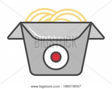 Wok box icon isolated vector illustration. Japanese delicious seafood, traditional asian culinary, paper box of chinese noodle pictogram.