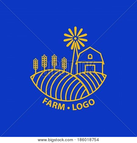 Farm concept logo. Template with farm landscape. Label for natural farm products. Gold logotype isolated on blue background. Vector illustration.