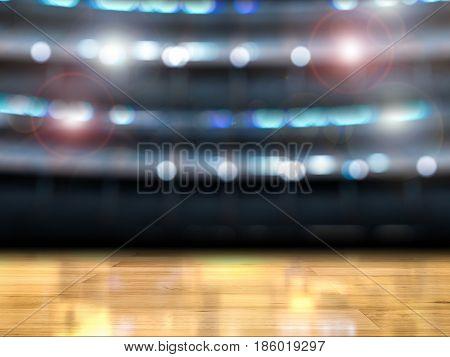 3d rendering gymnasium background with wooden floor poster