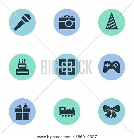 Vector Illustration Set Of Simple Birthday Icons. Elements Box, Confectionery, Game And Other Synonyms Party, Microphone And Voice.