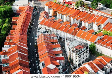 Top View Of Tile Roofs Of Old Townhouses In Singapore