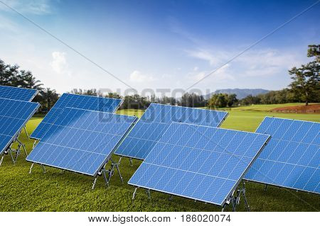 3d rendering solar panels with outdoor background