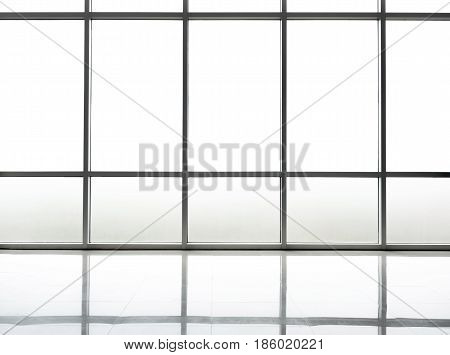blank studio with translucent window background and white floor